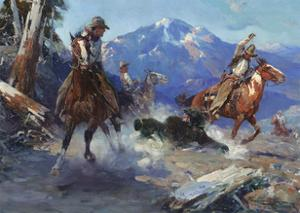 Cowboys Roping a Bear by Frank Tenney Johnson