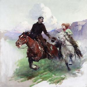 Riding Hard with Two Shooters, 1919 by Frank Tenney Johnson