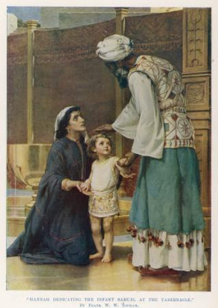 Hannah Wife of Elkanah Takes Her Young Son Samuel to the Temple at Shiloh