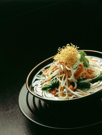 Japanese Noodle Soup (Miso Udon) with Fried Ginger