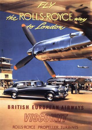 Fly the Rolls Royce way to London, 1953 by Frank Wootton