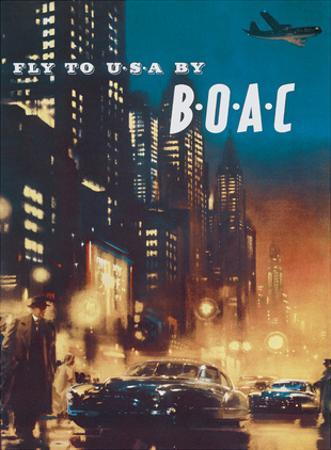 Fly to USA - BOAC (British Overseas Airways Corporation) by Frank Wootton