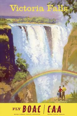 Victoria Falls, Zimbabwe - Fly BOAC (British Overseas Airways Corporation) by Frank Wootton