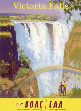 Victoria Falls, Zimbabwe - Fly BOAC (British Overseas Airways Corporation) by Frank Wootton