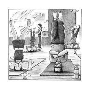 Frankenstein's monster easily balances on his flat head in yoga class.  - New Yorker Cartoon