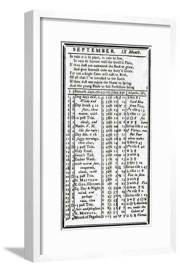 Franklin, Almanack Page--Framed Giclee Print