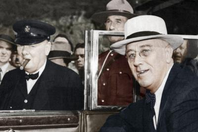 Franklin D Roosevelt and Winston Churchill Meeting in Quebec, Canada, 1944