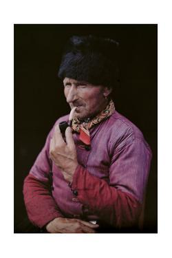 A Dutch Man Wears a Bearskin Cap and Smokes a Pipe by Franklin Price Knott