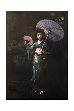 A Geisha Girl Poses in Her Kimono by Franklin Price Knott
