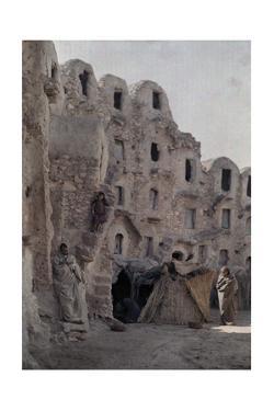 A Street Scene in an Ancient Troglodytae Village by Franklin Price Knott