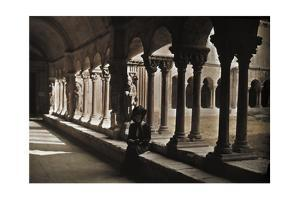 A Woman Sits under a Covered Walkway of Columns by Franklin Price Knott