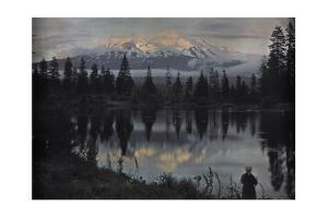 A Woman Stands at the Edge of a Pond Observing the View by Franklin Price Knott