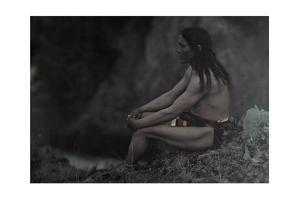An American Indian Poses for a Portrait by Franklin Price Knott