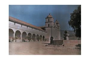 Priest Stands Near a Fountain on the Grounds of a Monastery by Franklin Price Knott