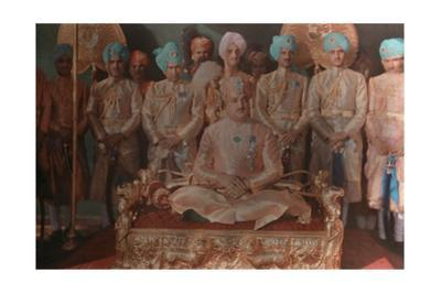 The Maharaja of Jammu and Kashmir Sits on His Golden Throne
