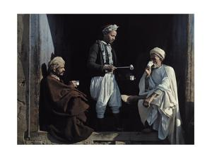 Tunisian Men Sip Coffee and Exchange News in Front of a Shop by Franklin Price Knott