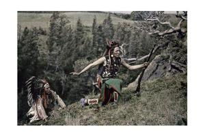Two Native American Men in Traditional Dress Ascend a Steep Slope by Franklin Price Knott