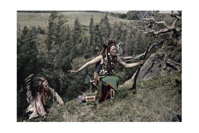 Two Native American Men in Traditional Dress Ascend a Steep Slope