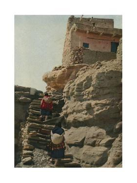 Two Women Climb the Stairs of an Acoma Pueblo by Franklin Price Knott