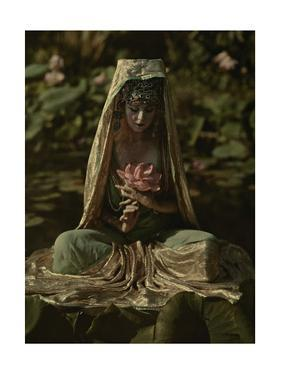 Woman Adorned Like a Chinese Goddess Poses in a Garden by Franklin Price Knott
