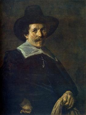 Portrait of a Man Holding Gloves, C1645 by Frans Hals