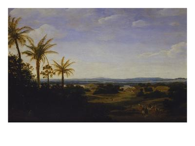 An Extensive Landscape in Brazil with the Portuguese Residence, the Church and the Casa-Grande,…