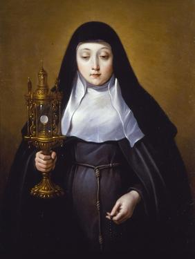 St Claire Holding a Monstrance with the Eucharist by Frans Luyckx Or Leux
