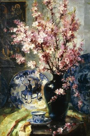 Apple Blossoms and Blue and White Porcelain on a Table by Frans Mortelmans