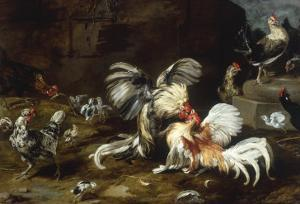 A Cockfight with other Poultry in a Farmyard by Frans Snyders
