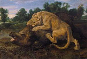 A Lioness Attacking a Wild Boar by Frans Snyders