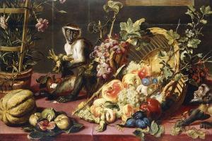 A Spilled Basket of Fruits on a Draped Table with Monkeys by Frans Snyders