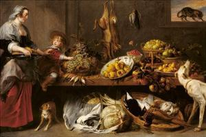 Kitchen Still Life with a Maid and Young Boy by Frans Snyders