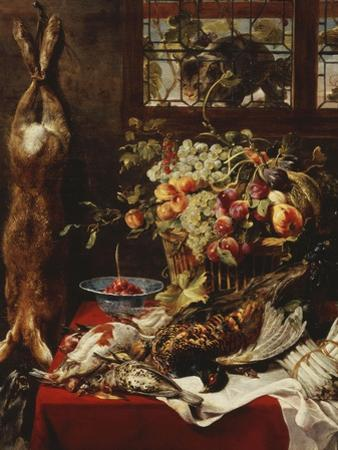 A Larder Still Life with Fruit, Game and a Cat by a Window