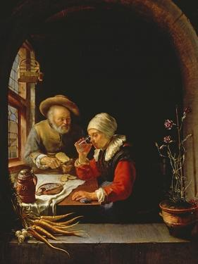 An Elderly Couple Eating by Frans Van Mieris