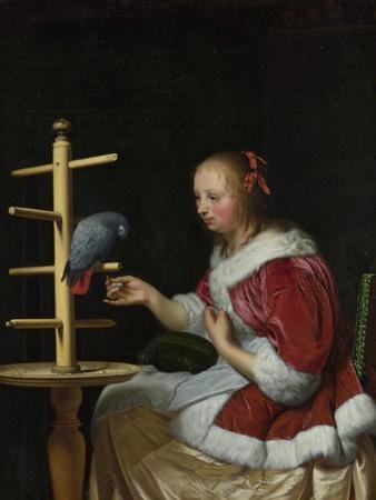 A Woman in a Red Jacket Feeding a Parrot, Ca 1663