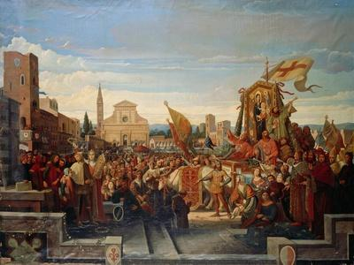 Cimabue's Madonna Being Carried in a Procession, Circa 1859