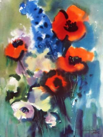 Red Poppies and Delphinium by Franz Aumueller