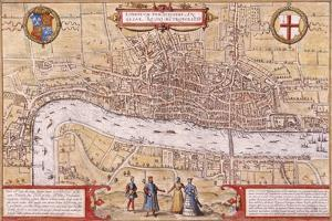 Map of the City of London, Southwark and Part of Westminster, 1572 by Franz Hogenberg