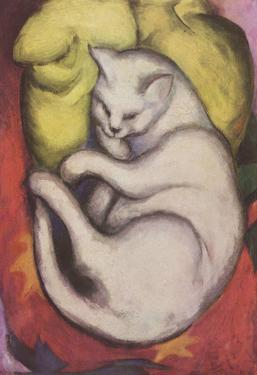 Franz Marc (Cat on a yellow cushion) Art Poster Print