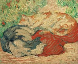 Cats on a Red Blanket by Franz Marc