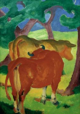 Cows under trees by Franz Marc