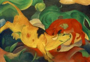 Cows, yellow, red green by Franz Marc