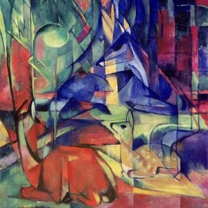 Deer in the Forest II, 1914 by Franz Marc