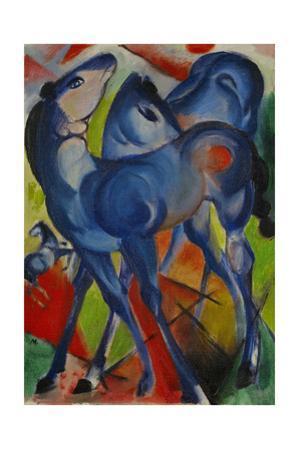 Die blauen Fohlen-Blue fillies, 1913 Canvas, 55,4 x 38,5 cm. by Franz Marc