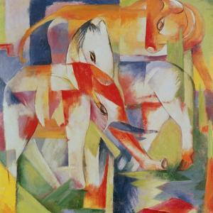 Elephant, Horse and Cow, 1914 by Franz Marc