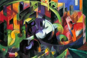Franz Marc Abstract with Cattle by Franz Marc