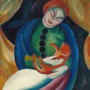 Girl with a Cat Ii., 1912 by Franz Marc