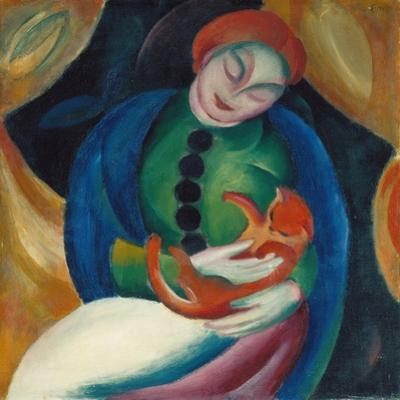 Girl with a Cat II, 1912 by Franz Marc