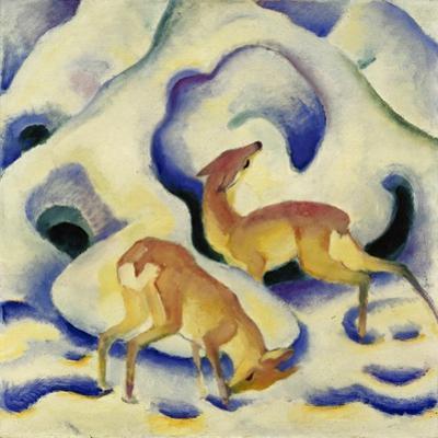 Rehe Im Schnee, 1911 by Franz Marc