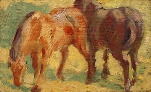 Small Painting of Horses by Franz Marc
